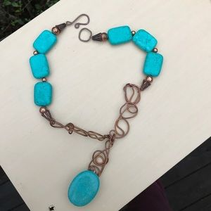 Vintage copper turquoise necklace